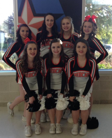 Varsity Cheerleaders- Back Row:  Amanda Knight, Payton Smith, Cara Coligan, Macy Frazier, Front Row: Shyenna Letter, Davi Letter, Makayla Cortinas