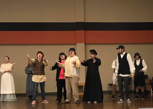 The cast of Fiddler on the Roof Jr. during a dress rehearsal.