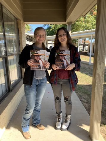 Senior Loblolly Editors, Gracie Johnson and Morgan Fondren with the 2019-20 edition.